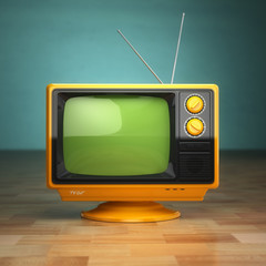 Retro vintage tv on green background. Television concept.