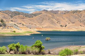 Sailboats on the mountain lake