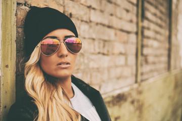 Blonde girl urban portrait