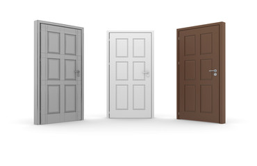 Brown, white, gray 3d door locks and doorhandles
