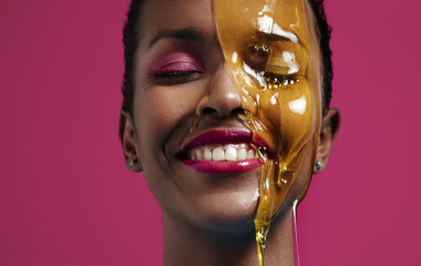 woman have fun with an oil treatment
