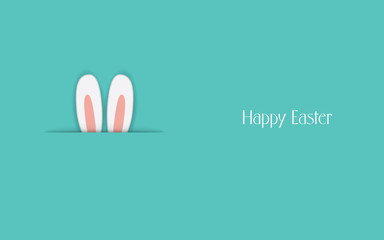 Adorable Happy Easter postcard template with bunny hiding and