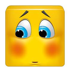 Square emoticon ashamed