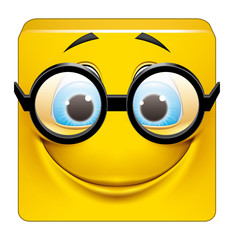 Square emoticon with big glasses