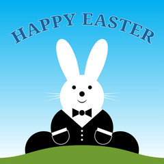 sitting smiling Easter bunny with suit and text