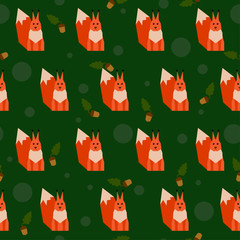 abstract geometric bright squirrel seamless pattern