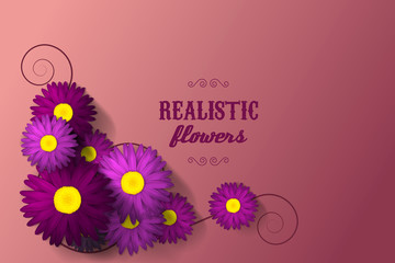 Floral background with purple and pink flowers. Poster template