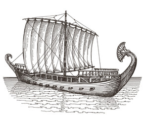 retro ship on a white background. illustration. sketch