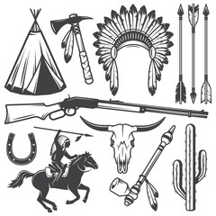 Set of wild west american indian designed elements