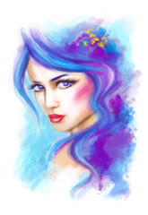 woman fantasy portrait beauty .abstract illustration