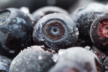 Frozen Blueberries. Macro. Closeup. Shallow depth of view.