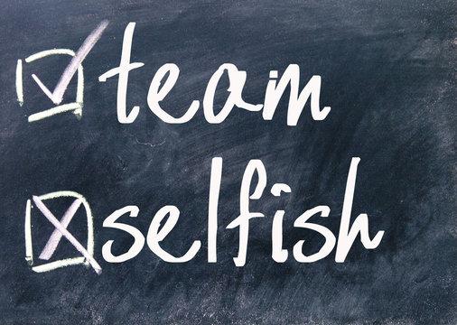 team and selfish choice on blackboard