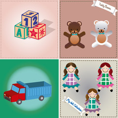 a set of colored backgrounds with different toys