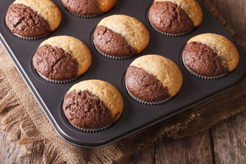 two-color muffins in baking dish closeup. Horizontal