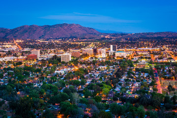 Twilight view of the city of Riverside, from Mount Rubidoux Park Wall mural