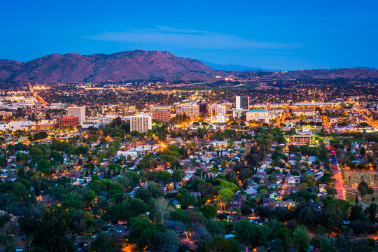 Twilight view of the city of Riverside, from Mount Rubidoux Park