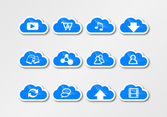 cloud computing sticker cyan