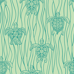 Decorative turtles in sea