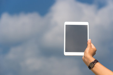 Concept of internet and communication. blank empty tablet comput