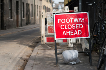 Traffic Sign: Footway Closed Ahead on the road