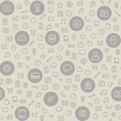 Light Seamless Pattern with Universal Icons