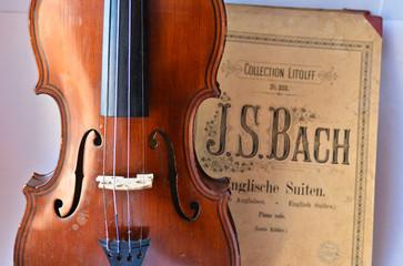German ancient violin and notes.
