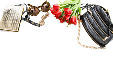 Fashion mockup with accessories, flowers and jewelry. Online sho