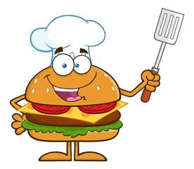 Chef Hamburger Cartoon Character Holding A Slotted Spatula