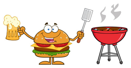 Hamburger Holding A Beer And Bbq Slotted Spatula By A Grill
