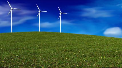 wind generators on meadow - renewable energy concept