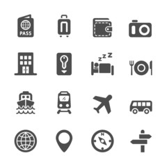 hotel and transportation icon set, vector eps10