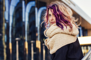 beautiful portrait of a girl with colored hair