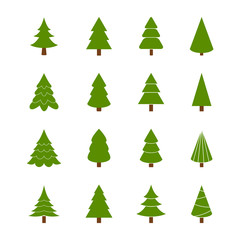 Set of Christmas trees, vector illustration