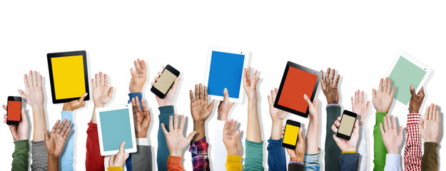 Diverse Hands Holding Digital Devices Concept