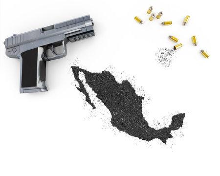 Gunpowder forming the shape of Mexico .(series)