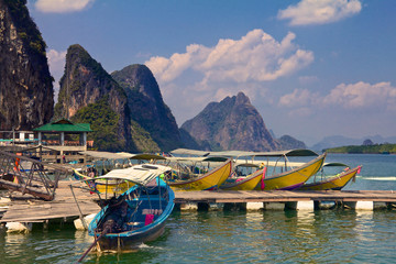 Longtail boats docked in Krabi Thailand
