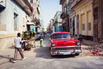 Classic old car on streets of Havana, Cuba