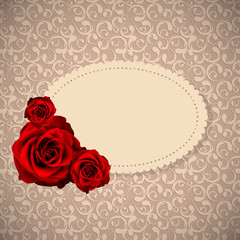Beautiful Floral Cards with  Realistic Rose Flowers Vector Illus