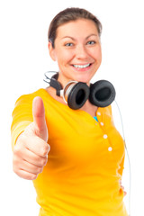 Keuken foto achterwand Fitness portrait of happy girl with headphones on white background
