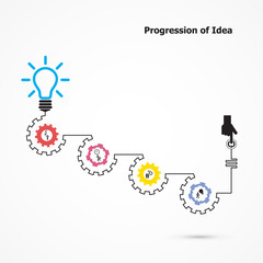 Creative light bulb symbol with linear of gear shape. Progressio