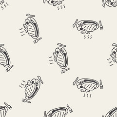 doodle steak seamless pattern background