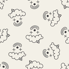 doodle clown seamless pattern background