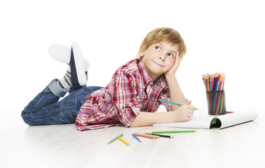 Little Child Boy Drawing Pencil, Artistic Creative Kid Thinking
