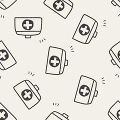 doodle medicine box seamless pattern background