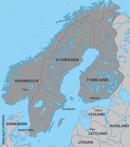 Skandinavien Karte In Grau Stockfotos Und Lizenzfreie Vektoren Auf