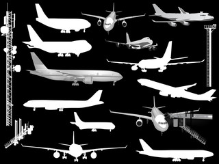 thirteen airplanes collection isolated on black