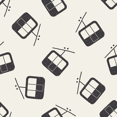 doodle cable car seamless pattern background