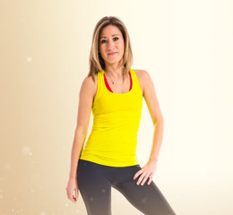 Sport woman over white background