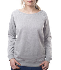 woman wearing plain grey pullover