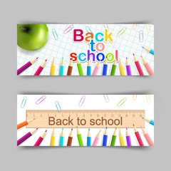 Vector set of school banner 400x150 for your design. Back to sch